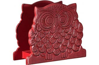 (Red Owl Shaped) - Modern Farmhouse Wood Napkin Holder - Freestanding Tissue Dispenser For Kitchen Countertops, Dining Table, Picnic Table, Indoor & Outdoor Use (Red Owl Shaped)