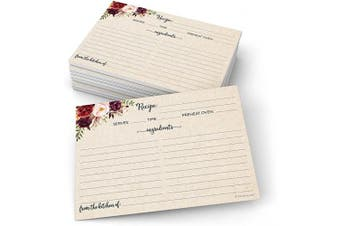 (13cm  x 18cm  (X-Large), From Kitchen - Ing Front, Dir Back) - 321Done Jumbo 5x7 Recipe Cards (Set of 50) Floral Watercolour Red Roses Rustic Kraft - Double-Sided for Weddings, Bridal, Baby Shower, Recipe Exchange - Made in USA - X-Large, Tan