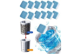 Solid Washing Machine Cleaner Effervescent Tablet Washer Cleaner Deep Cleaning Remover with Triple Decontamination (12pcs)