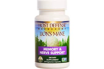 Host Defence, Lion's Mane Capsules, Promotes Mental Clarity, Focus and Memory, Daily Mushroom Supplement, Vegan, Organic, 30 Capsules (15 Servings)