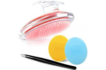 4 Pieces Silicone Face Scrubbers Set, Body Brush Exfoliating Brush Soft Face Scrub Brush Dry Brushing Body Face Brush with Precision Tweezers for Women and Men