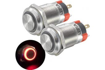 (Red) - APIELE (Pcs of 2) 12mm Momentary Push Button Switch High Round Head Stainless Steel 1 Normally Open With Ring Led (Red)