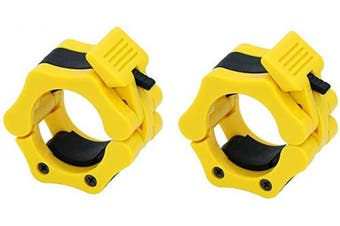 (Yellow) - OwnZone Barbell Clamps Collars, Quick Release Pair of Locking 5.1cm Olympic Barbell Clamps Weight Barbell Locks Collar Clips Great for Workout, Weightlifting, Fitness & Strength Training