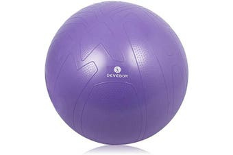 (55 cm, purple) - DEVEBOR Exercise Ball for Yoga Balance Fitness Stability Workout Guide, Professional Grade Extra Thick Yoga Ball Chair with Quick Pump, Anti-Burst Heavy Duty Stability Ball
