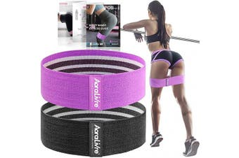(37cm , Professional-Purple/Black) - Aoralivre Fabric Resistance Bands for Legs/Butt/Glute/Squats Stretch Workout Exercise Booty Bands for Women Indoor Fitness (Set 2)