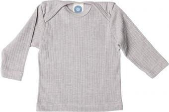 (86 cm/92 cm, Grey Melange) - Cosilana - Baby T-Shirt Long Sleeve, 45% Organic Cotton, 35% Organic Merino Wool, 20% Silk