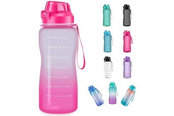 (1890ml, ombre pink) - 4AMinLA Motivational Water Bottle 642960ml Half Gallon Jug with Straw and Time Marker Large Capacity Leakproof BPA Free Fitness Sports Water Bottle