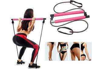 (PINK) - STRPRETTY BASIC Pilates Bar Kit with Resistance Band Yoga Pilates Stick