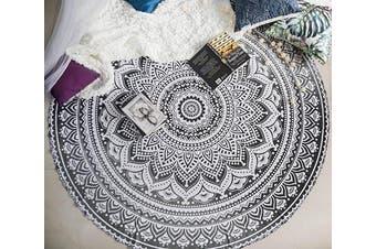 (180cm , Black / Grey) - Indie Pop Mandala Round Tapestry or Beach Blanket - Hippie Indian Bohemian Mandala Blanket or Towel - Round Boho Tablecloth, Meditation Rug or Wall Hanging, Circle Yoga Mat - 180cm , Black / Grey