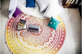 (180cm , Yellow) - Folkulture Sunset Hue Mandala Round Beach Towels or Beach Blanket, Hippie Boho Tapestry, Indian Bohemian Circle Tablecloth or Rug, Bohemian Cotton Yoga Mat for Meditation - 180cm , Yellow