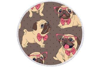 (Brown Pug) - Beatuiphone Dog Beach Towel Large Round Cute Pug Animal Tassels Microfiber Picnic Free Throws Yoga Rug Tablecloth Mat 150cm (Brown Pug)