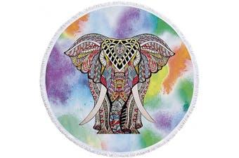 (Colorful Ele) - Beatuiphone Colourful Beach Towel Large Round Elephant Animal Tassels Microfiber Picnic Free Throws Yoga Rug Tablecloth Mat 150cm (Colourful Ele)