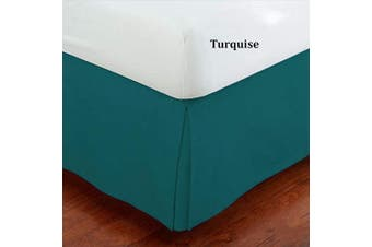 (Full, Turquoise) - Linen Plus Full Size Luxury Tailored Bed Skirt 36cm Drop Pleated Styling Dust Ruffled Solid Turquoise New