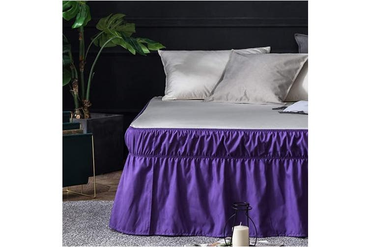 Ayasw Bed Skirt 41cm Drop Dust Ruffle, Purple Queen Size Bed Skirt