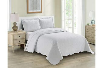 (Twin/Twin XL, Coral) - Home Collection 2pc Twin/Twin XL Over Size Luxury Embossed Bedspread Set Light Weight Solid Coral New