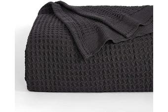(Queen, Black) - Bedsure 100% Cotton Thermal Blanket - 405GSM Soft Blanket in Waffle Weave for Home Decoration - Perfect for Layering Any Bed for All-Season - Queen Size (230cm x 230cm ), Dark Grey