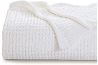 (Twin, White) - Bedsure 100% Cotton Thermal Blanket - 405 GSM Soft Blanket in Waffle Weave for Home Decoration - Perfect for Layering Any Bed for All-Season - Twin Size (170cm x 230cm ), White