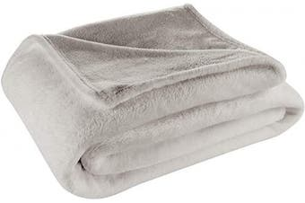 (Twin / Twin XL, Silver) - Cosy House Collection Twin/Twin XL Size Fleece Blanket – All Season, Lightweight & Plush Hypoallergenic - Microfiber Blankets for Bed, Couch or Travel - Silver