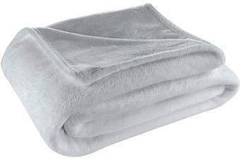(Throw, Grey) - Cosy House Collection Throw Size Fleece Blanket – All Season, Lightweight & Plush Hypoallergenic - Microfiber Blankets for Bed, Couch or Travel - Grey