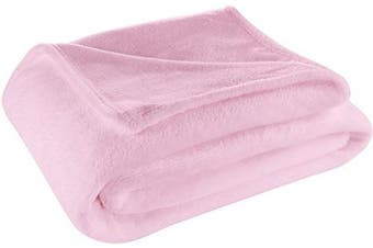 (Throw, Pink) - Cosy House Collection Throw Size Fleece Blanket – All Season, Lightweight & Plush Hypoallergenic - Microfiber Blankets for Bed, Couch or Travel - Pink
