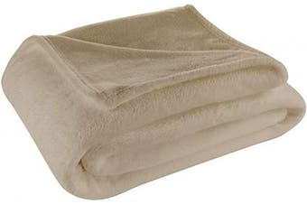 (Twin / Twin XL, Tan) - Cosy House Collection Twin/Twin XL Size Fleece Blanket – All Season, Lightweight & Plush Hypoallergenic - Microfiber Blankets for Bed, Couch or Travel - Tan