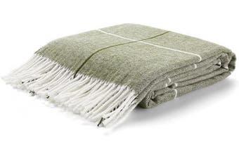 (Green Stripes) - Arus Highlands Collection Tartan Plaid Design Throw Blanket Green Stripes 150cm X 200cm