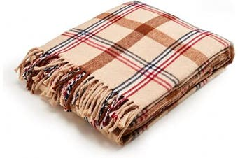 (Sahara) - Arus Highlands Collection Tartan Plaid Design Throw Blanket Sahara 150cm X 200cm