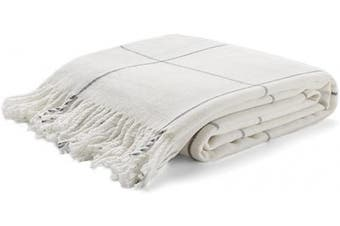(Off-white) - Arus Highlands Collection Tartan Plaid Design Throw Blanket Off-White 150cm X 200cm