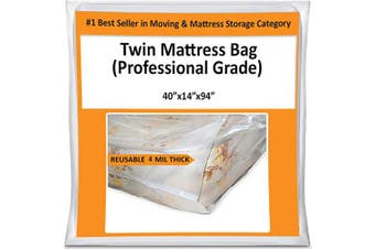 Twin Mattress Bag Cover for Moving or Storage - 4 Mil Heavy Duty Thick Plastic Wrap Protector Reusable Bag