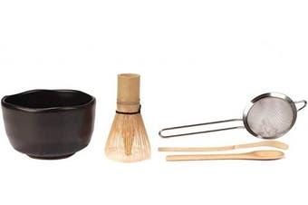 (Black) - Japanese Ceremonial Matcha Green Tea Whisk Set - Golden Chasen Whisk, Chashaku, Tea Spoon, Black Bowl, Strainer