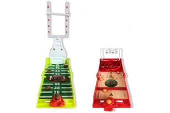 Gamie Football and Skee-Ball Desktop Games, Set of 2, Mini Table Top Sports Games with Foldable Design, Indoor Finger Board Games for Kids, Office Desk Toys for Adults, Sports Party Favours