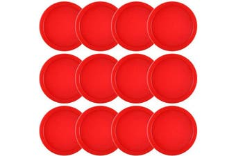 (Red) - Coopay 12 Pieces Home Air Hockey Pucks 6.4cm Heavy Replacement Pucks for Game Tables Equipment Accessories, 13 Grammes