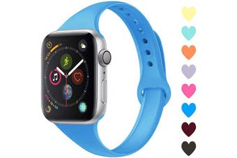 (42mm/44mm, C,Surf Blue) - Acrbiutu Bands Compatible with Apple Watch 38mm 40mm 42mm 44mm, Slim Thin Narrow Replacement Silicone Sport Accessory Strap Wristband for iWatch Series 1/2/3/4/5 Women Men