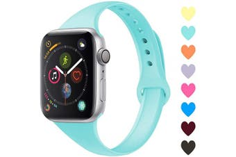 (42mm/44mm, C,Turquoise) - Acrbiutu Bands Compatible with Apple Watch 38mm 40mm 42mm 44mm, Slim Thin Narrow Replacement Silicone Sport Accessory Strap Wristband for iWatch Series 1/2/3/4/5 Women Men