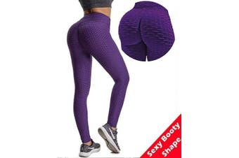(X-Large, Purple All Length) - Msicyness Butt Lift Yoga Pants Hight Waist Workout Booty Leggings Textured Scrunch Bum Ruched Tights