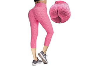 (Large, Pink Capri) - Msicyness Butt Lift Yoga Pants Hight Waist Workout Booty Leggings Textured Scrunch Bum Ruched Tights