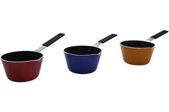 IMUSA USA IMU-40003T Nonstick Multi Mini Sauce Pan with Silicone Handle Varies, You May Receive Red, Orange, Blue Colour
