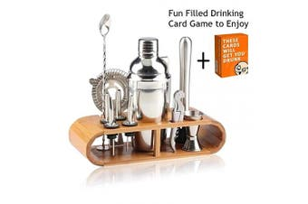 (12 Piece Set) - Cocktail Shaker Bar Mixer Set-Professional Bartender Premium Stainless Steel 740ml Perfect For Homemade Party Drinks with Your Favourite Liquor Mixes. This 12 Piece Kit Has All The Essentials You Need.