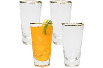 AILELAN Highball Glasses, Attractive Bubble Design Highball Glasses, Set of 4 Clear Heavy Base Tall Bar Glasses for Water, Juice, Beer, Wine, and Cocktails, 380ml