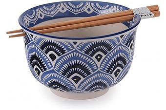 (Peacock) - Fuji Merchandise Japanese Design Quality Ceramic Ramen Udong Noodle Bowl with Chopsticks Gift Set 16cm Diameter (Peacock)