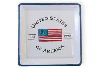 (Square Plate) - Boston International Enamelware Square Plate, 13cm x 13cm , USA Flag