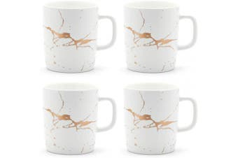 (4 Mugs Gold Marble, White) - Coffeezone 350ml Matte Ceramic Marble Tea Coffee Mugs Luxury Gold Inlay (White, 4 Mugs Gold Marble)