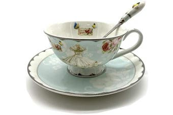 (Wedding) - Krysclove Vintage Ceramic Teacup Delicate Coffee Cup with Spoon and Saucer Set,Royal Bone China Cups (Wedding)