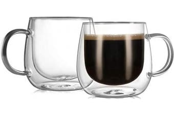 (GLASS MUGS 10 OZ/290ML) - CnGlass Insulated Glass Coffee Mugs 300ml,Set of 2 Large Double Wall Glass Espresso Mugs,Clear Glasses Cappuccino Mug with Handle(Tea Latte Glassware)