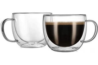 CnGlass Cappuccino Glass Mugs 240ml,Clear Coffee Mug Set of 2 Espresso Mug Cups,Double Wall Insulated Glass Mug with Handles(Latte Glasses,Tea)