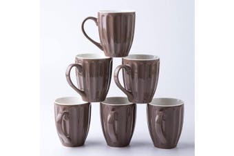 (Dark Gray) - Amuse- Professional Porcelain Bistro Collection Fluted Mugs- Set of 6-350ml (Dark Grey)