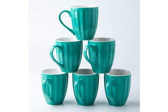 (Mint Blue) - Amuse- Professional Porcelain Bistro Collection Fluted Mugs- Set of 6-350ml (Mint Blue)