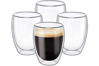 (4, 350ml) - Glass Coffee Mugs 350ml - Set of 4, Double Wall Insulated Thermal Cups Drinking Glasses For Tea/Coffee/Latte/Cappucino/Cafe/Milk, Clear