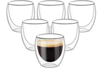 (6, 250ml) - Double Wall Cups Glass 250ml - Set of 6, Insulated Thermal Mugs Glasses For Tea, Coffee, Latte, Cappucino, Cafe, Milk