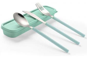 (knife/spoon/fork,green) - ArderLive 3 PCS Outdoor Flatware Set with Case ,Fork Spoon Knife/Travel Set for Travel, Lunch Box and Camping. (knife spoon fork ,green)